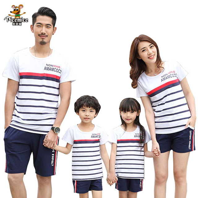 f09b5e3c5b Family Look Mother Daughter T shirt Shorts Family Matching Outfits Father  Son Baby Boy Clothes Set Matching Family Clothing