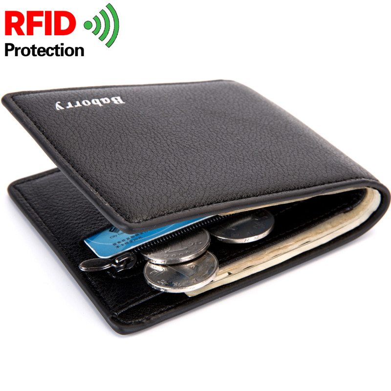 RFID Short Men Wallet With Zipper Coin Purse Fashion Thin Mens Wallet Business Male Wallets Small Money Purse Portomonee HB160 baellerry small mens wallets vintage dull polish short dollar price male cards purse mini leather men wallet carteira masculina