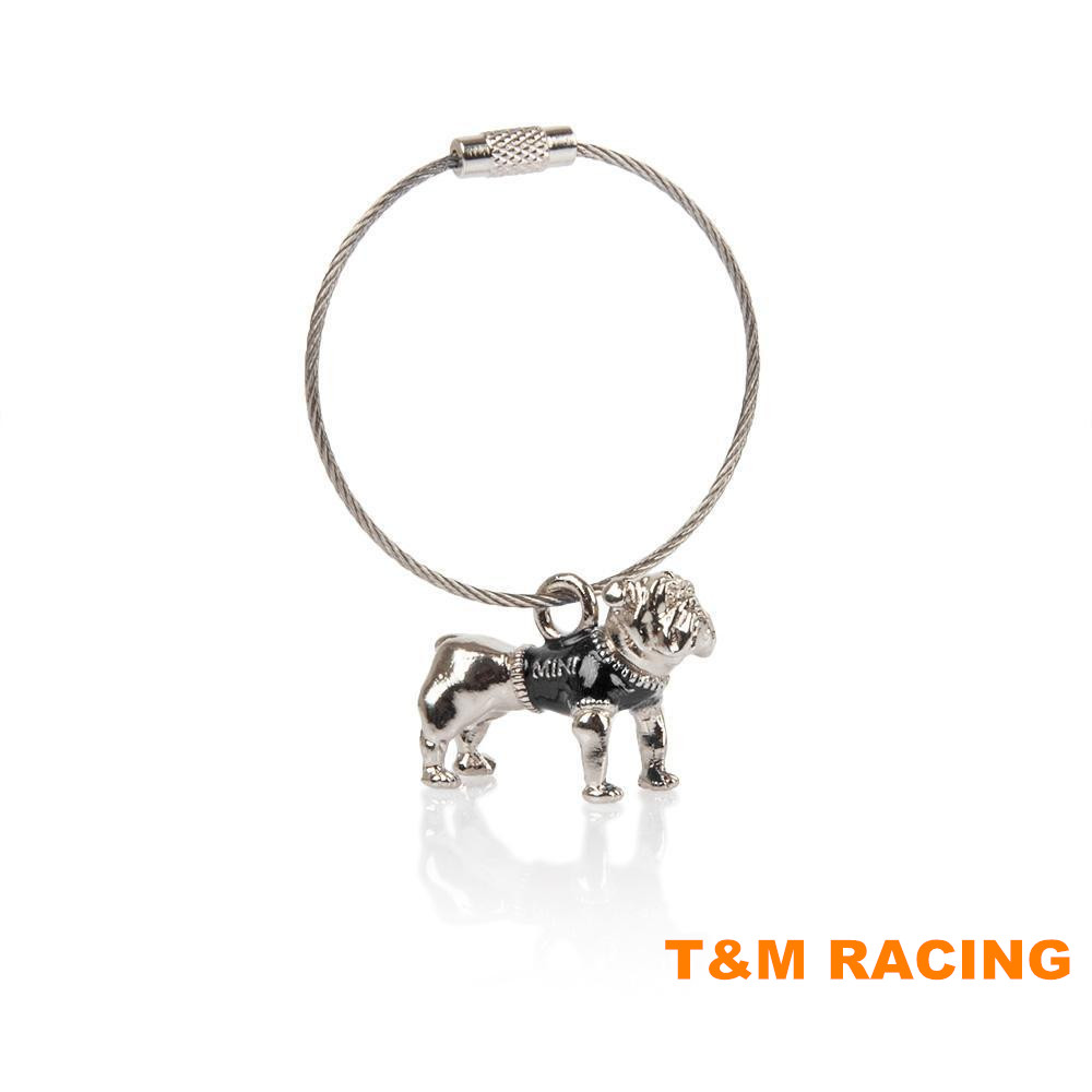 For MINI Cooper Bulldog Bull Dog Keychain Key Chain Silver