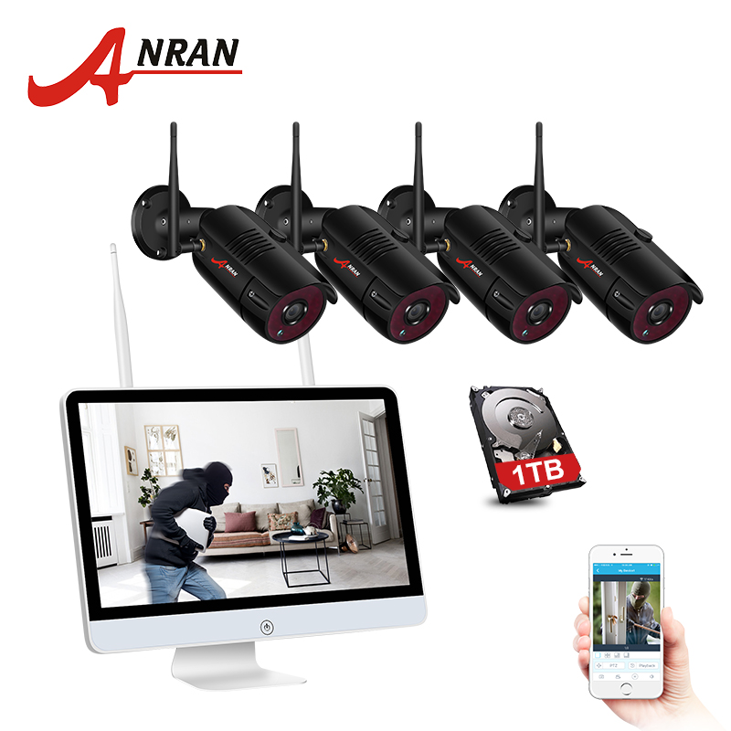 ANRAN 4CH CCTV System Wireless 1080P 15 Inch NVR Security Camera System With 2MP Outdoor Wifi Audio IP Camera Surveillance Kit