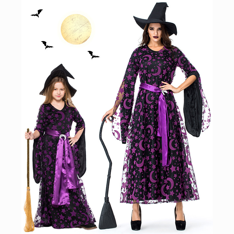 Woman Black Yarn Star Moon Stamp Witches Dress Costumes Cosplay Suit With Hat For Girls Halloween Party Dress Costume Cosplay