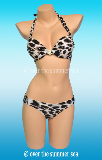 2015 Brand beach Leopard bikini Push up swimsuit swimwear The bathing suit tops with diamonds bathers for women Freeshipping