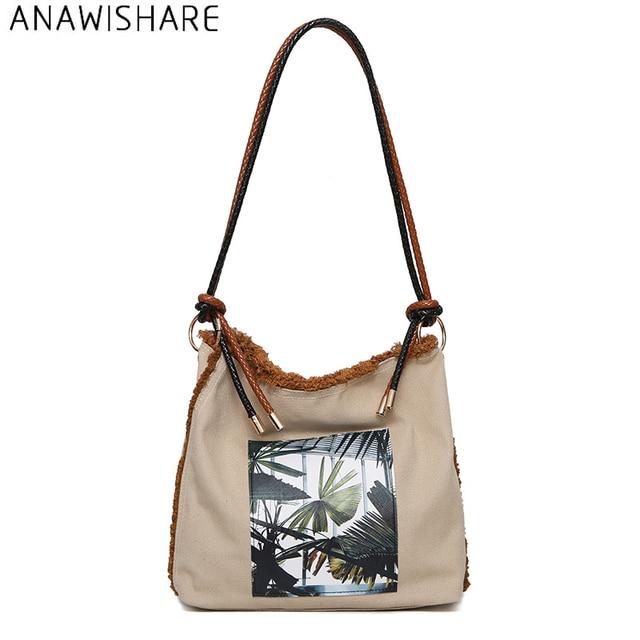 ANAWISHARE Women Canvas Handbags Large Shoulder Bags Ladies Tote Bags  Designer Handbags Bolsa Feminina Bolsos Mujer 4e0ee0831a