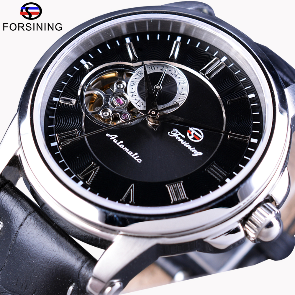 Forsining Men Watch Skeleton Fashion Design Casual Top Brand Luxury Genuine Leather Automatic Self-Winding Wrist Watch Clock Men forsining golden case steampunk automatic wrist watch mens skeleton watches top brand luxury uhren men genuine leather clock