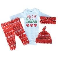 Retail New 2016 Bebe 4pcs Clothing Sets Xmas Baby Boy Girl Romper Pants Hat Headband Suit