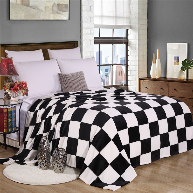black and white plaid super soft warm plaid printed coral fleece blanket