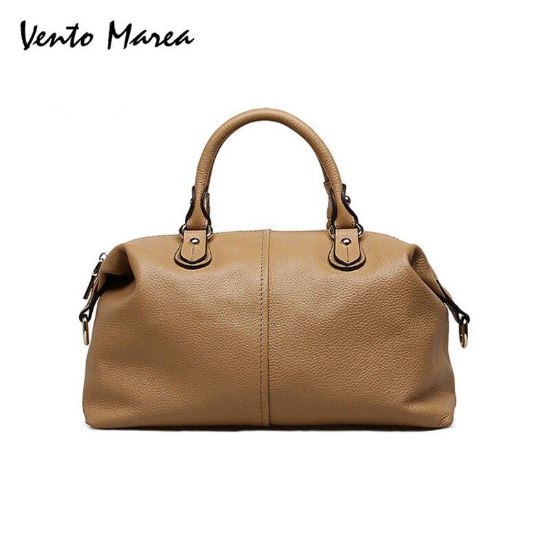 Ladies' Genuine Leather Handbag Natural Leather Boston Messenger Bag Famous Brand High Quality Shoulder Bag Casual Hand Bag 2018