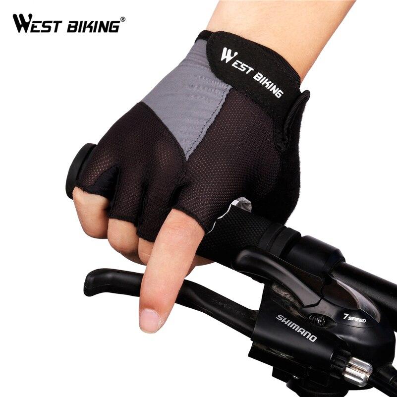 WEST RADFAHREN Radfahren Handschuhe Half Finger Fahrrad Handschuh Gel Pad Anti-slip Rennrad MTB luvas Guantes Ciclismo Bisiklet Bike Handschuhe