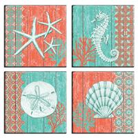 Orange Teal Coral Ocean Seashell Sand Dollar Seahorse Star Fish Coastal Beach Seaside Nautical Room Decor Home Decals Wall Art
