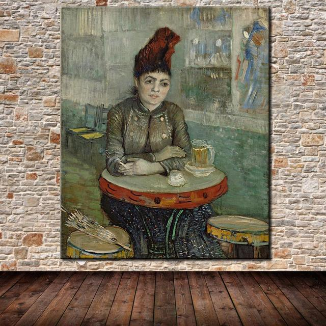 Free Shipping Vincent van Gogh  Agostina Segatori sitting in the Cafe du Tambourin Oil Painting On Canvas  Home Decor 40x50cm