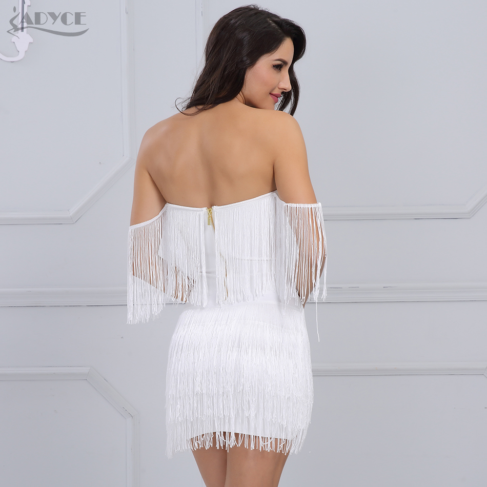 Adyce 2018 New Women Summer Bandage Dress Elegant Club Party Dress Sexy V Neck Off Shoulder Tassel Embellished Mini Fringe Dress 2
