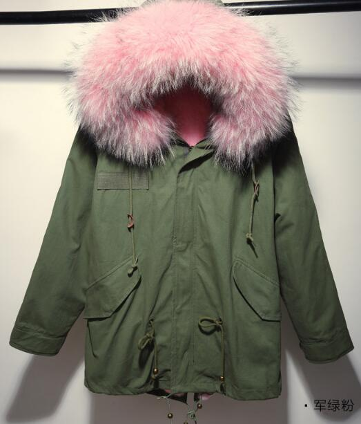 2016 Winter Jacket Women Parkas Top Quality Coat Army Green Large Real Raccoon Color Fur Collar
