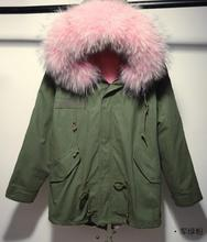 2016 Winter Jacket Women Parkas Top Quality Coat Army Green Large Real Raccoon Color Fur Collar Hooded Outwear