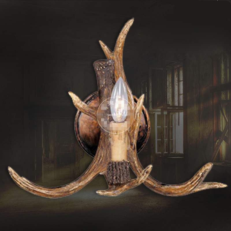 European Style Wall Lamp Bedroom Bedside Light Living Room Bar Staircase Aisle Lights American Country Vintage Antler Wall Lamps