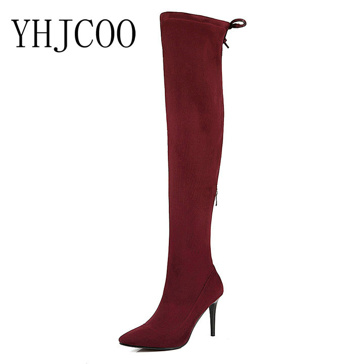 new women high quality Faux Suede Slim Thigh High Boots High Heels fashion sexy Pointed Toe Party boots Hand made cozy boots 43