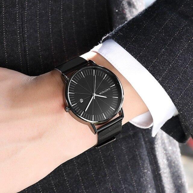 Luxury Black Mesh Steel Quartz Watch for Man  3