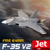 FMS RC Airplane 64mm F35 F 35 V2 Lightning Ducted Fan EDF Jet Grey Scale Warbird Fighter Model Hobby Plane Aircraft Avion PNP