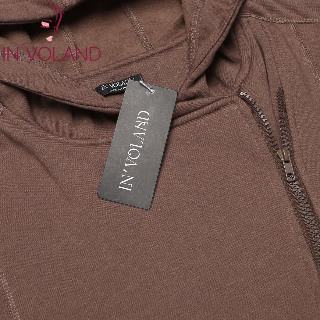 IN'VOLAND Women Jacket Coat Plus Size XL-5XL Autumn Casual Hooded Long Sleeve Zipper Fleece Winter Outwear Large Jacke Big Size 5