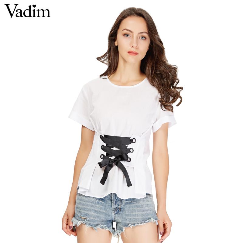 HTB1nToESFXXXXbuapXXq6xXFXXXX - women sweet lace up shirt short sleeve o neck black
