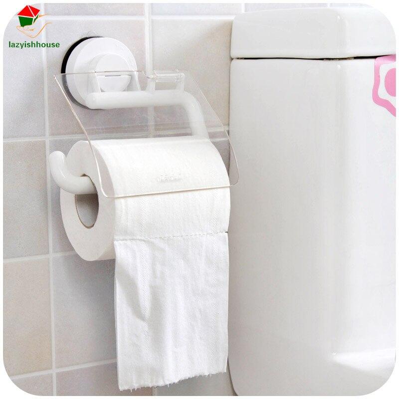 Sucker Wall toilet tissue waterproof Tissue box Bathroom Organizer Plastic Storage box Paper towel rack holder With cover wet