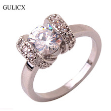 GULICX Size 5 Brand Fashion Creative RIng for Female  White Gold Plated Crystal CZ Zirconia Engagement Jewelry 2016 R223