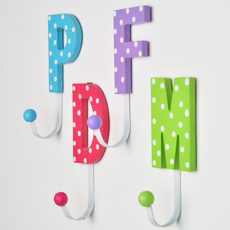 Wooden decorative hooks hook alphabetical cute cartoon for Kids room hooks