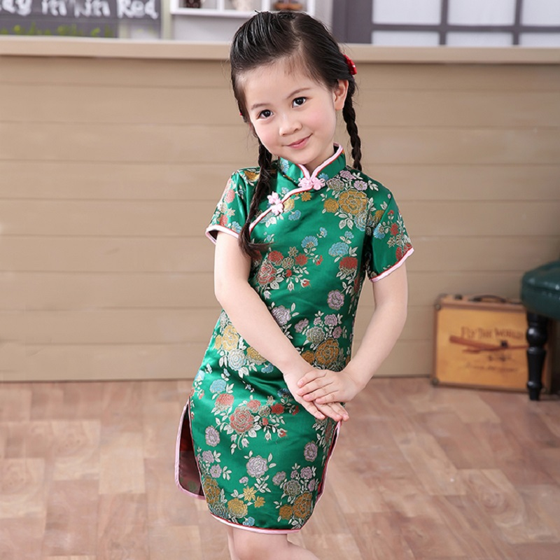 2018 Green Chinese Girl Dress Children Qipao Chi-Pao Cheongsam Gift Clothes Children Clothing Girl Clothes Floral New Year