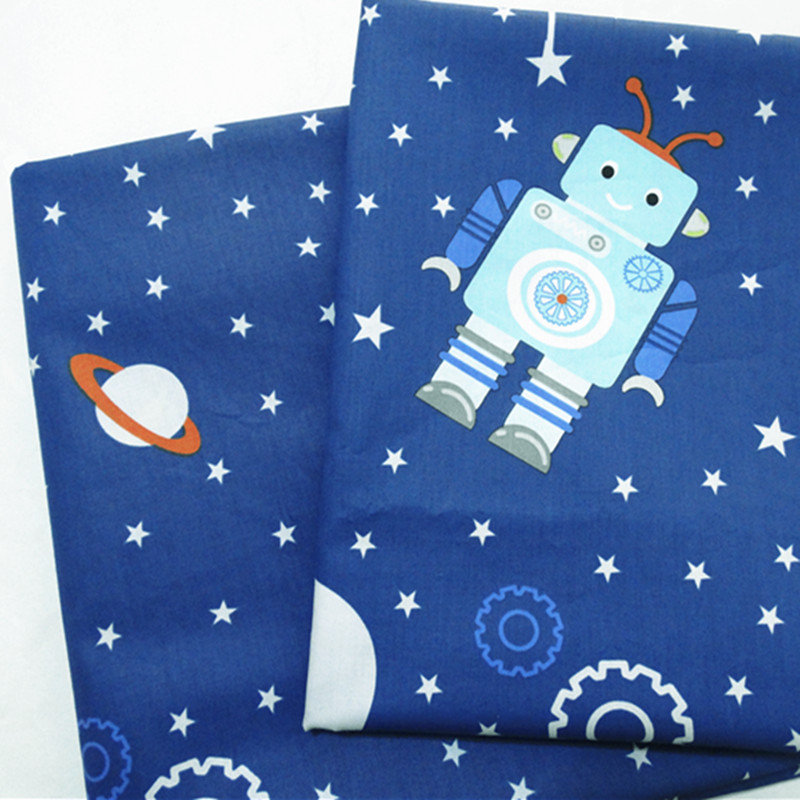100x160cm blue space robot children 100 cotton fabric for Space baby fabric