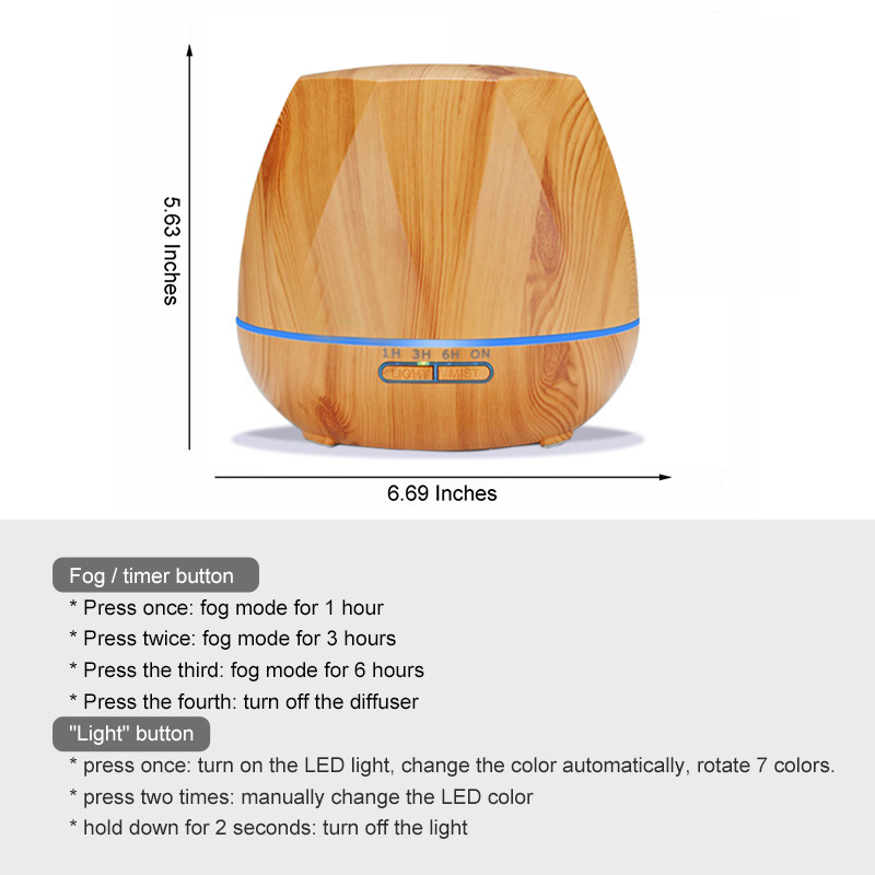 550ML Remote Control Essential Oil Aroma Diffuser With 7 Color LED Lights For Home Aromatherapy Diffuser Ultrasonic Humidifier