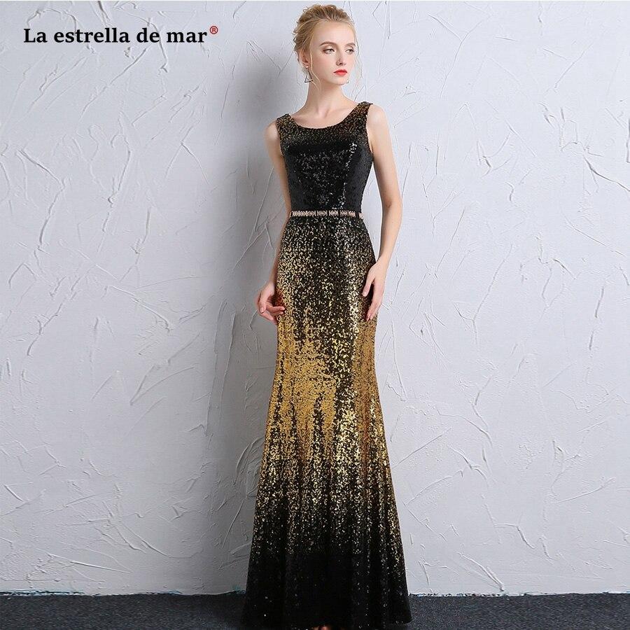 Robe de formatura longo2018 nouveau noir or paillettes sexy sirène de bal robes pas cher galajurken plus la taille d'obtention du diplôme robe