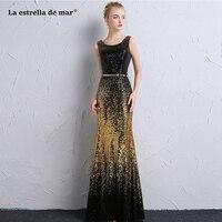 Vestido de formatura longo2018 nieuwe zwarte goud pailletten sexy mermaid prom dresses goedkope galajurken plus size graduatietoga