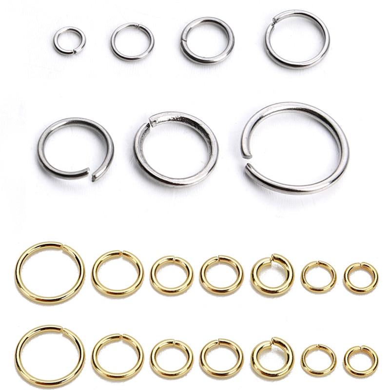 SAUVOO 1 paket paslanmaz çelik açık Jump yüzük altın gümüş çift döngü bölünmüş konnektör için DIY kolye takı tedarikçisi