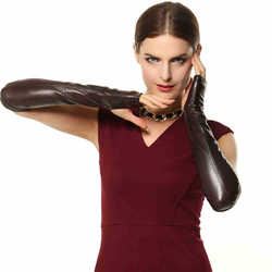 Fashion 41cm Long Female Real Genuine Leather Gloves Opera Women Fingerless 2020 New Banquet Solid Sheepskin Glove EL015NN