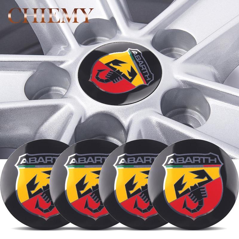 4pcs 56.5mm Aluminum Car Emblem Wheel Center Hub Sticker Badge For Fiat Abarth Punto 124/125/125/500 Stilo Ducato Car Styling