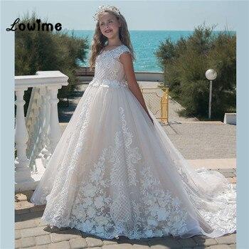 8f41ef57939 Кот дети пышные вечерние платья Кружева аппликация для девочек в цветочек  платья для свадеб дешевые платья для первого причастия для девоч.