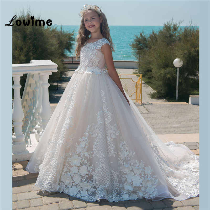 Ivory Kids Pageant Evening Gowns Lace Applique   Flower     Girl     Dresses   For Weddings Cheap First Communion   Dresses   For   Girls   2018 New