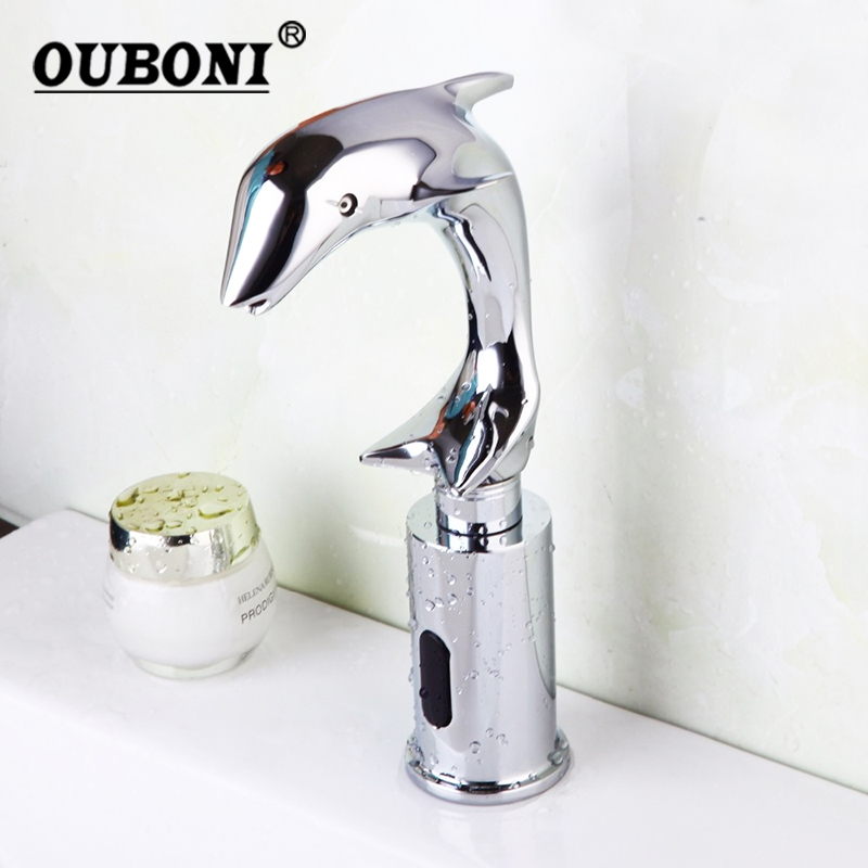 все цены на Chrome Polish Wash Basin Sense Faucets Automatic Sensor Hand Free Dolphin Bathroom Basin Sink Faucet Chrome Mixer Tap