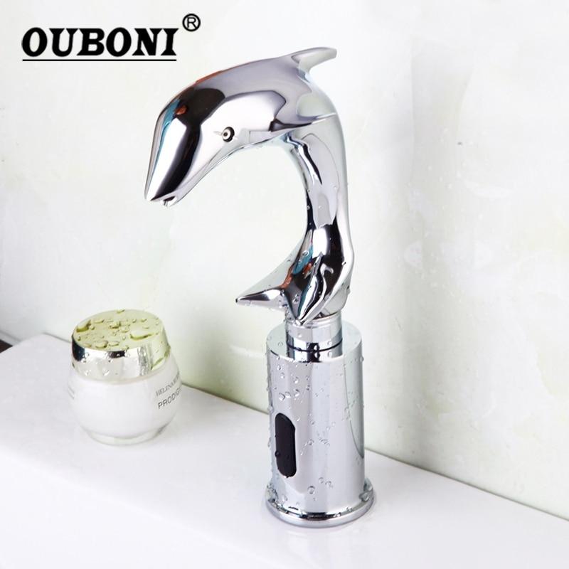 Chrome Polish Wash Basin Sense Faucets Automatic Sensor Hand Free Dolphin Bathroom Basin Sink Faucet Chrome Mixer Tap