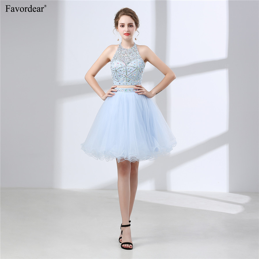 Favordear New Halter Open Back Ruffles Beading Homecoming Gowns Halter Sparkly Beading White   Cocktail     Dresses