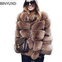 BINYUXD High Quality Thicken Pink Faux Fur Coat Women Plus Size Stand Collar Long Sleeve Faux Fur Jacket gilet fourrure bontjas