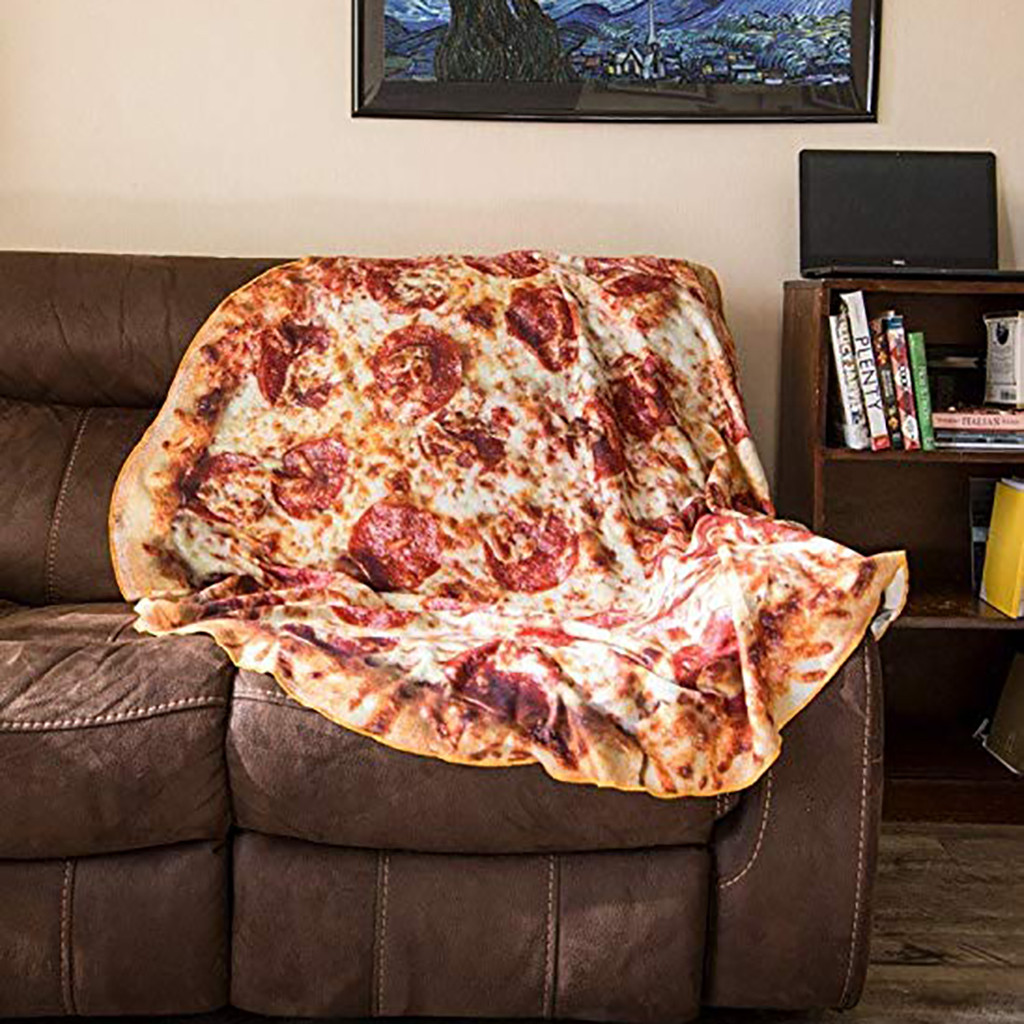 Comfort Food Creations Pizza Wrap Blanket Perfectly Round Hamburger Throw Blanket On Bed Sofa Portable Car Travel Cover Blanket