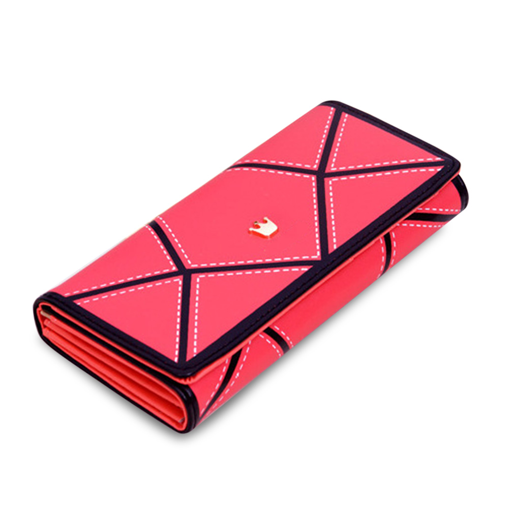 New Fashion Women PU Leather Hasp Long Geometric Pattern Purse Tri-fold Wallet Card Holder Cash Coin Handbag WML99