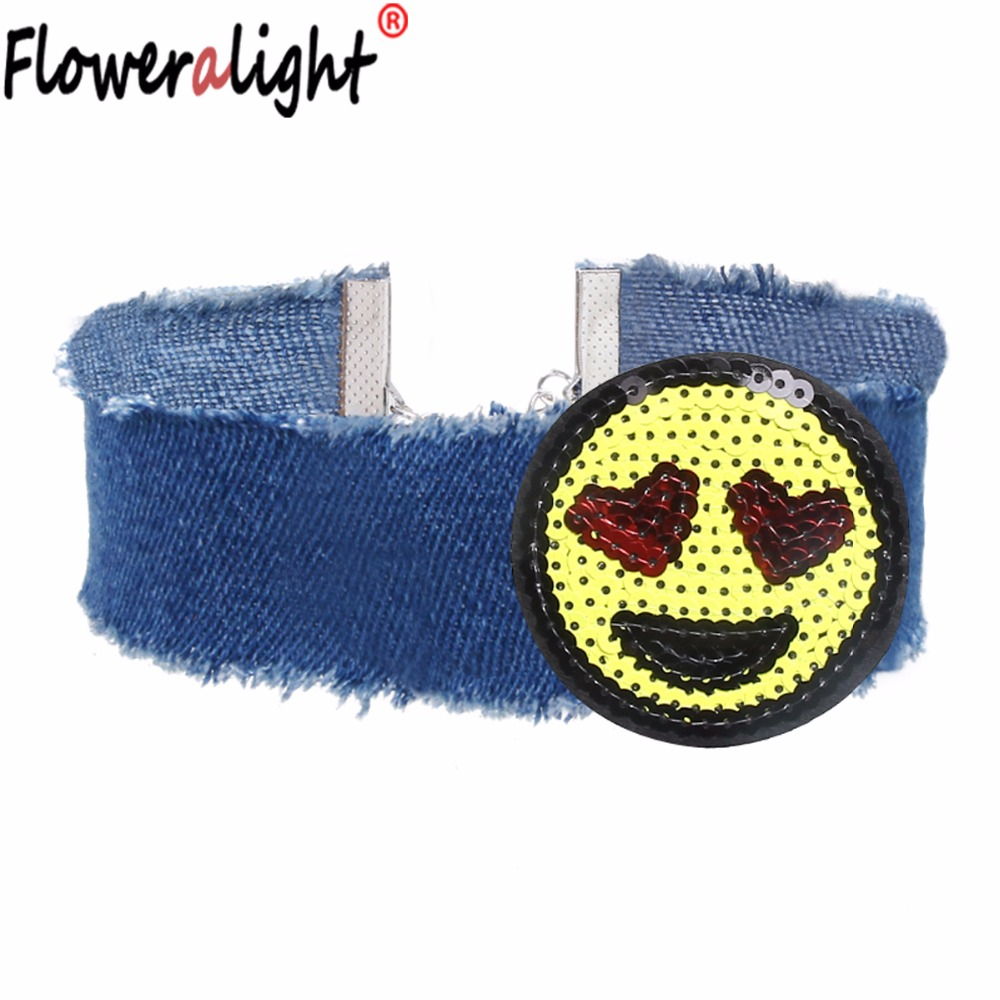 Floweralight New Lovely Yellow Facial Expression Handmade Sequins Blue Choker Necklaces for Women Girls Wholesale NZ3887