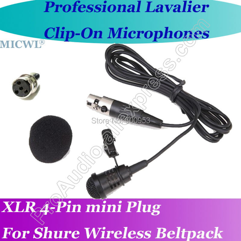 Micwl ta4f beltpack pará de lapela lapela microfone para shure microfone sem fio profissional com mini xlr 4pin plug
