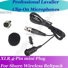 MICWL TA4F Professional Microfone Lavalier para Lapel Microphone for Shure Wireless Beltpack with XLR Mini 4Pin Plug стоимость