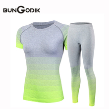 2017 Women's Tracksuits Yoga Sets Breathable Sport Suit Fitness Gym Running Set Yoga Shirt Top Lady Yoga Pants Gym Set Girl Suit