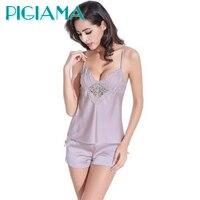 Pyjama Femme Satin Cami And Short Bathrobe Rayon Silk Women S Sleep Pajama Set Lace Pijama
