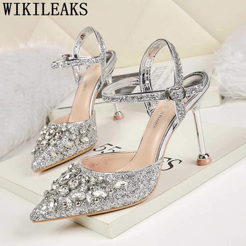 rhinestone heels valentine shoes crystal heels wedding shoes bride fetish high heels dress shoes women 2019 new pumps for women