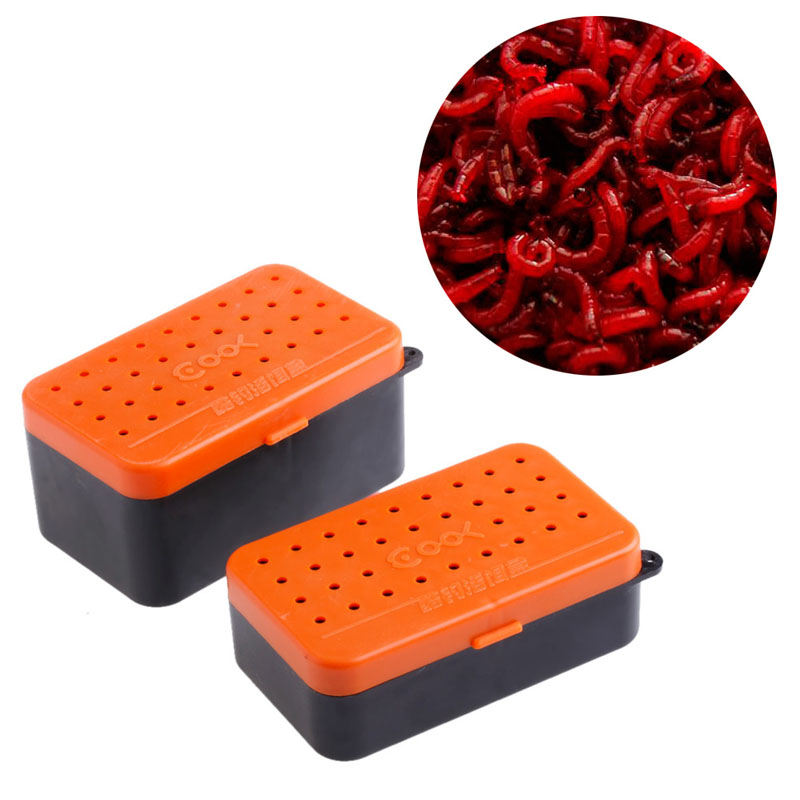2 Compartments Fishing Baits Earthworm Worm Lure Storage Case Tackle Box 2 Sizes