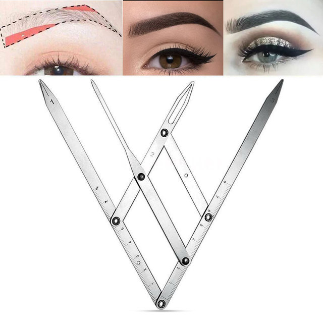 Golden Ratio Fordable Measure Precisely Adjustable Size Calipers Stencil Design Stainless Steel Eyebrow Ruler Makeup Tool